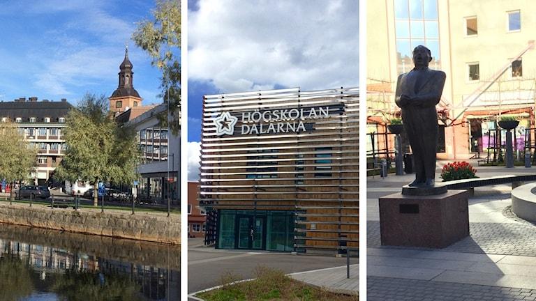 Tredelad bild som visar vy från Falun respektive Borlänge samt högskolan Dalarna.