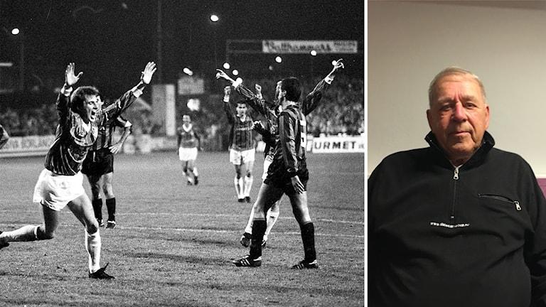 Montage av bild på Brage-Inters match 1988, och Evert Mellström som var speaker på matchen.