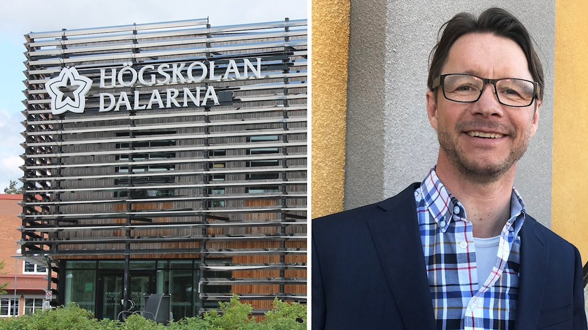 Högskolan Dalarnas hus i Falun, samt en bild på Mats Tegmark, utvecklingsledare för lärarutbildningsområdet vid Högskolan Dalarna.