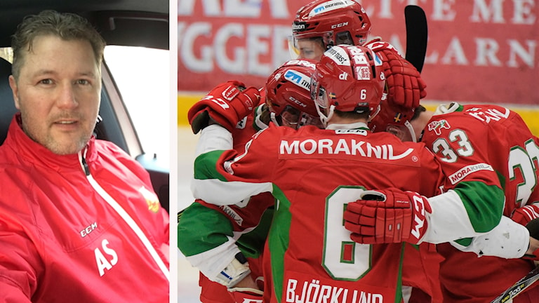 Anders Sundby och några spelare i Mora IK