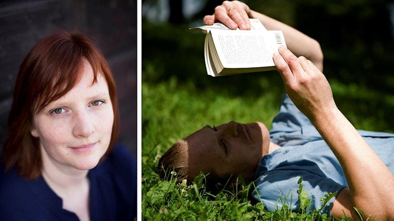 Porträttbild på kvinna som tittar in i kameran respektive halvbild på man som ligger i gräset och läser en bok.