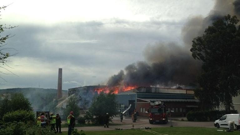 Branden i ett garveri i Malung under Dansbandsveckan 2014.