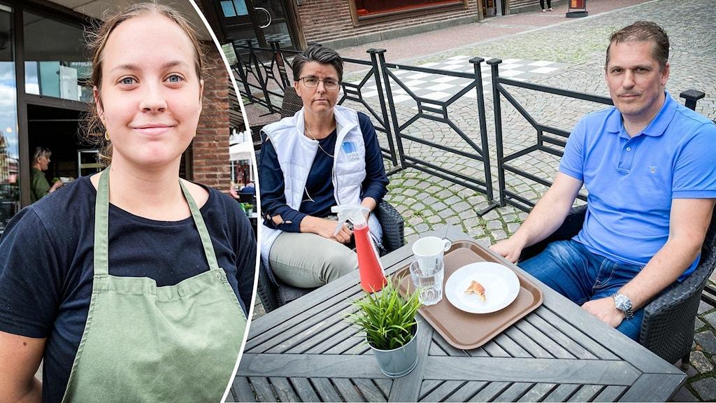Jenny Karlsson, jobbar på café och har stora problem med hunriga fåglar. Vid bordet sitter Verinoca Lindgren på Unika Ludvika och kommunjägaren Mats Cederlöf.