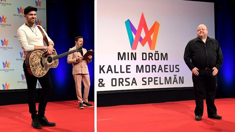 Stiko Per Larsson och Kalle Moraeus på scen när SVT presenterade artisterna till Melodifestivalen 2018.