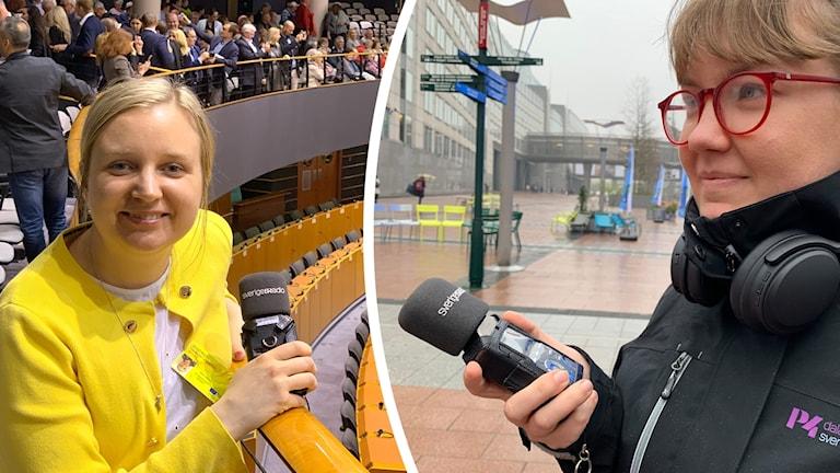 P4 Dalarnas reportrar Lisa Linder Lindberg och Alva Snis Sigtryggsson i och utanför Europaparlamentet.