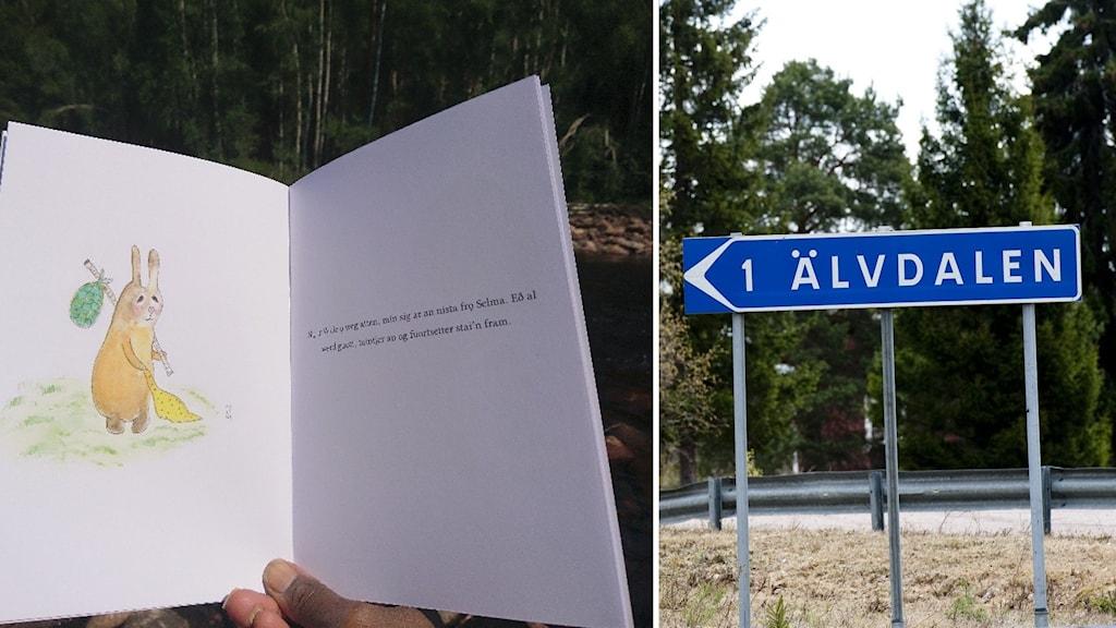 En öppen bok med bild på en kanin och en text på älvdalska.