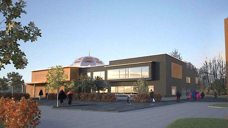 Skiss av det nya Islamiska centret i Borlänge.