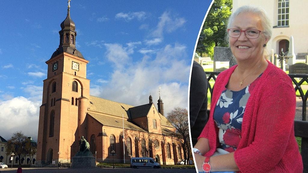Rödaktig kyrka i solljus, och glad äldre kvinna i röda glasögon och matchande kofta sittandes på bänk.