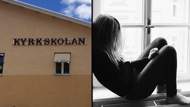 Kyrkskolan och en tjej som sitter i ett fönster