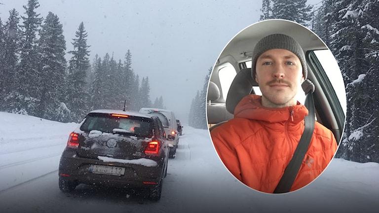 Filip Erlandsson berättade under morgonen om bilkö och bilar som haft svårt att komma fram i snön.