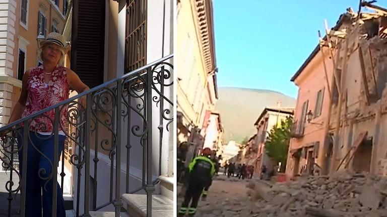 Helena Kovacs i Italien, och en bild på rasmassor efter jordbävningen nära Perugia.