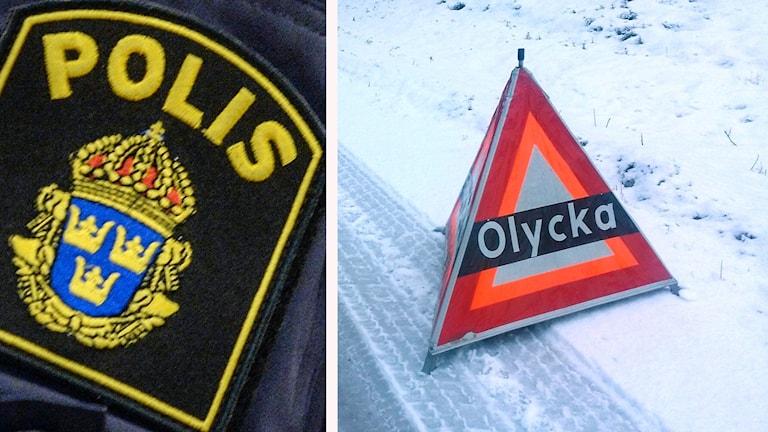 En polislogga och en olycksplats