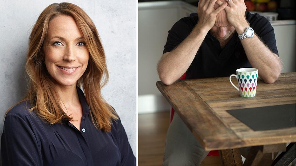 En kvinna som ler mot kameran och en infälld bild på en ensam man vid ett köksbord.