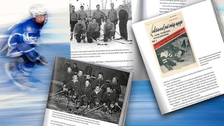 Ishockeyspelare och faksimiler ur en bok om ishockey.