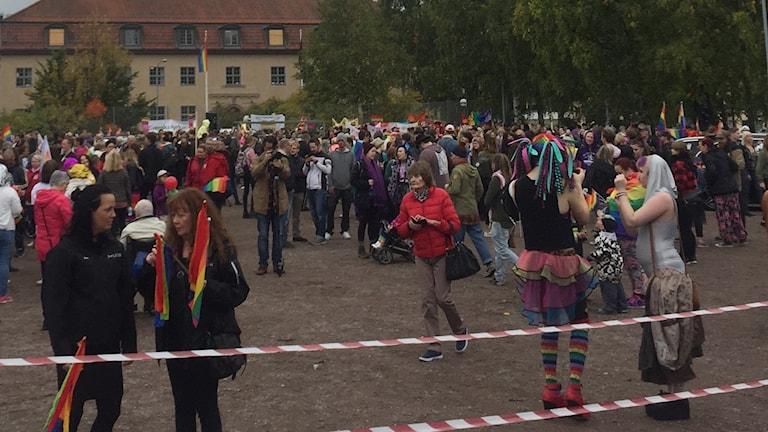 En bild från lördagens Falu pride