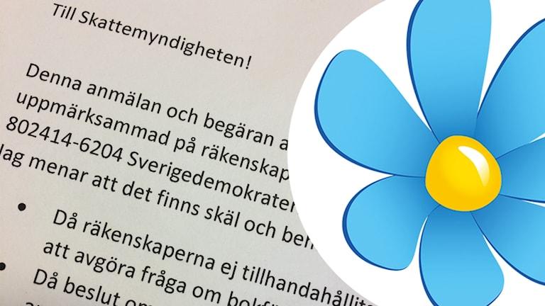 Fotografi på anmälan till Skatteverket och Sverigedemokraternas partilogga.
