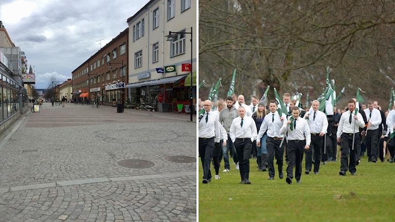 Montage av bild på Ludvika centrum och nazister från NMR.
