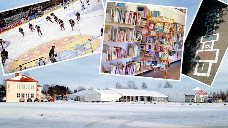 Snötäckt grusyta med et hus och ett stort vitt mässtält. Infällda bilder på hockeyspelare, fyllda bokhyllor och en hopphage på en skolgård.