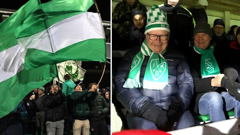 En man med grönvit Brage-mössa och halsduk sitter bland publik.