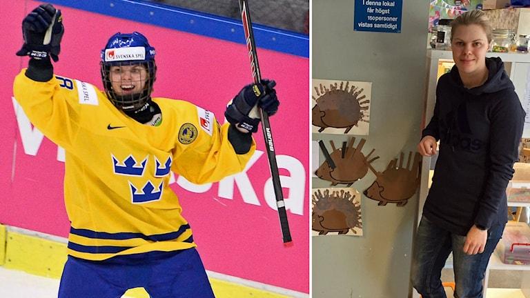 hockeyspelaren Anna Borgqvist jublar under en hockeymatch