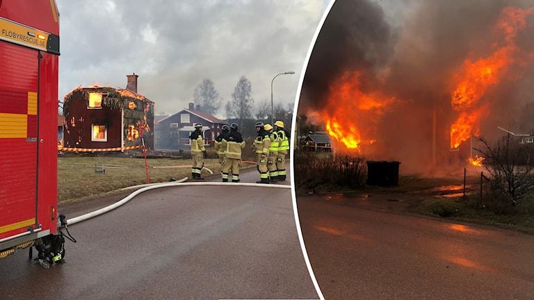 En villa som brinner i Djura i Leksands kommun.