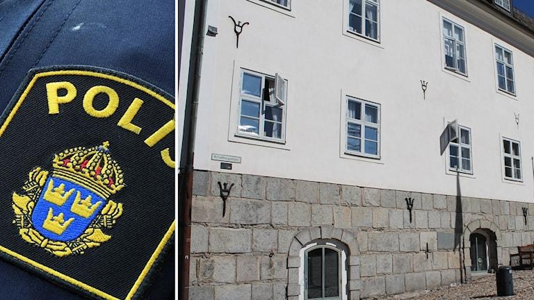 Närbild på ett polismärke samt rådhuset i Falun
