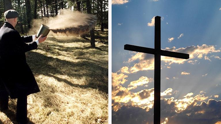 En man som sprider aska och ett kors