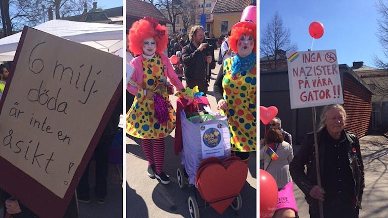 Clowner mot rasism och skyltar med text Inga nazister på våra gator