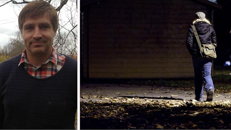 Lars Isacsson som är kommunalråd på ena bilden och en flicka som är ute och går på kvällen på andra bilden
