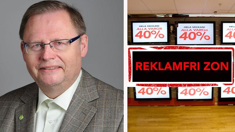 Jan Lindholm och reklam i en affär med skylt: Reklamfri zon framför.