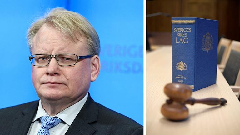 Peter Hultqvist samt en lagbok och en domarklubba.