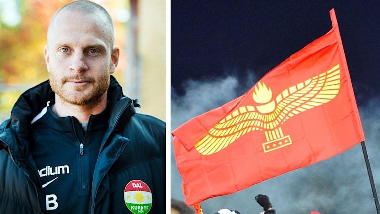 Dalkurds tränare Andreas Brännström och Syrianskas flagga