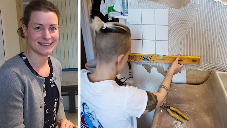 Ellen Gräfvings, konsumentjuridisk rådgivare, och en bild på en hantverkare