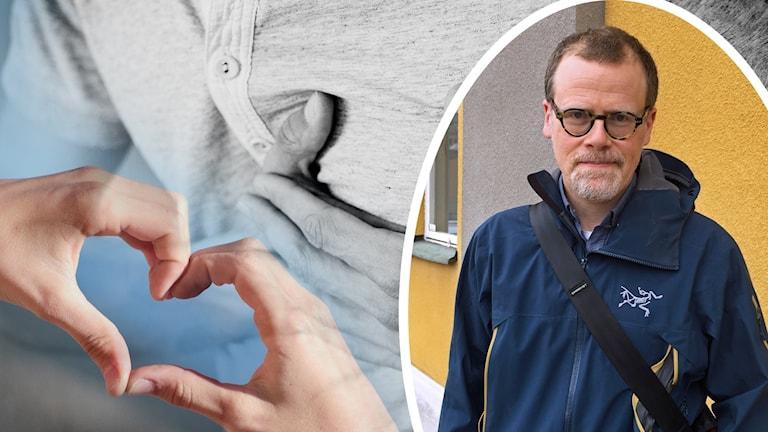 Montage av bilder på dels händer som formar ett hjärta, dels en person som tar sig för bröstet, dels en man i glasögon och blå jacka som tittar in i kameran.
