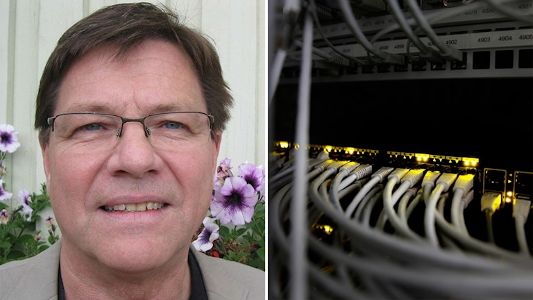Montage av bild på Nils-Åke Norman (M) i Älvdalen och fibersladdar.