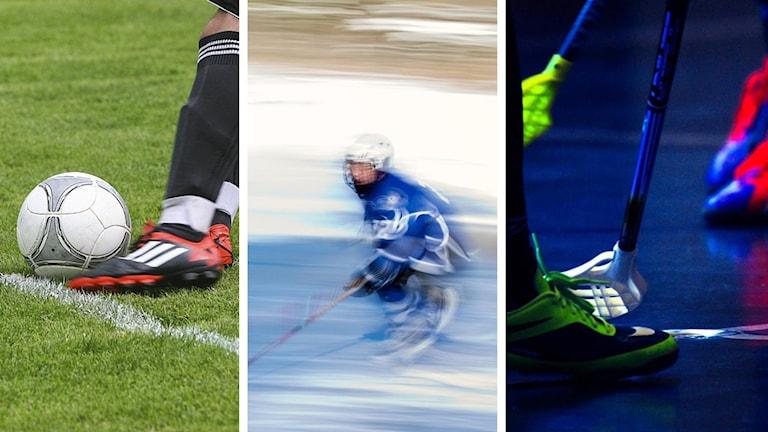 En fotbollsspelare, en hockeyspelare och flera innebandyspelare