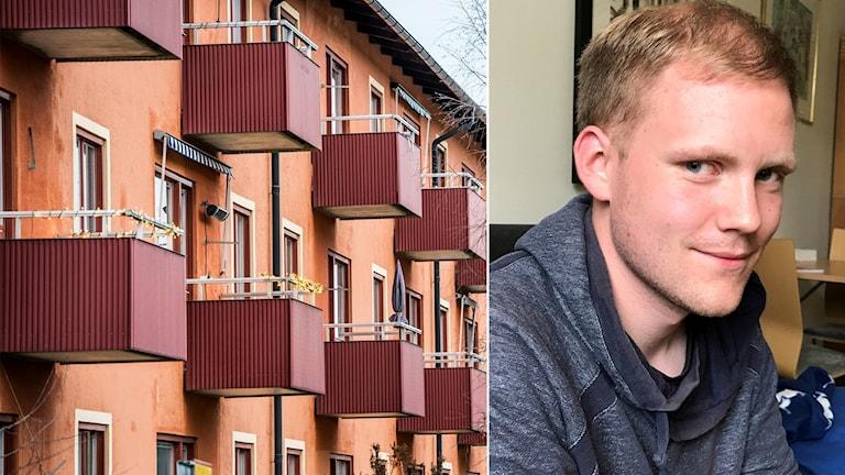 En bild på ett orange bostadshus med fler balkonger och en bild på Tom Edoff som ler lite snett.