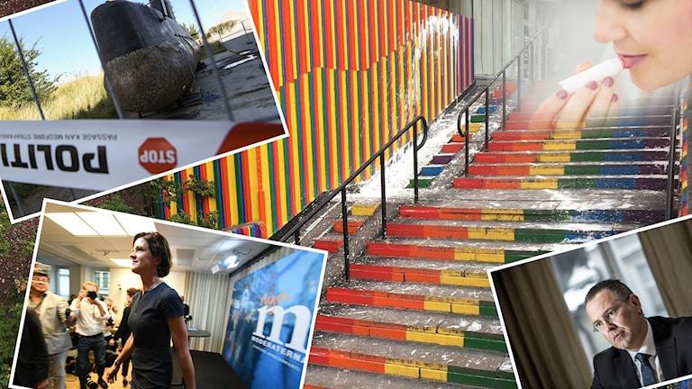 Kollage av flera bilder, bland annat en trappa och flera människor.