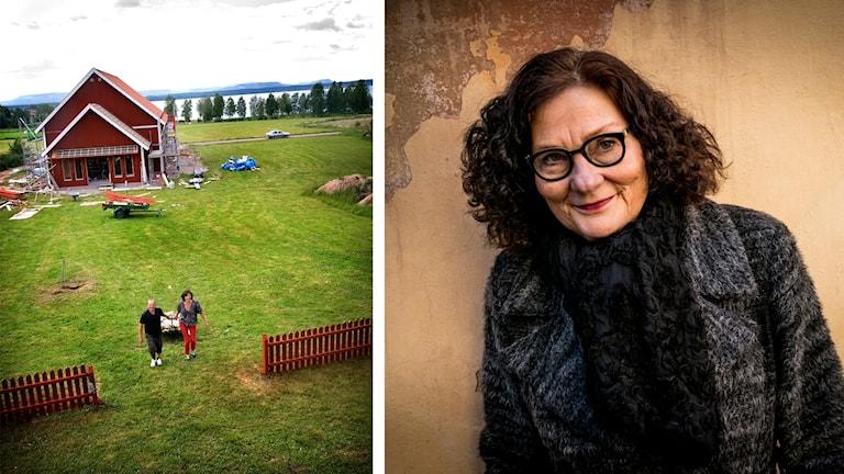 Vy över rött hus på gräsmatta med vatten i bakgrunden samt bild på Ebba Witt-Brattström som småler.