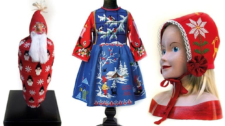 Tre av konstnären Karin Ferners julverk, en mumifierad tomte, en klänning sydd av juldukat och en röd hätta.