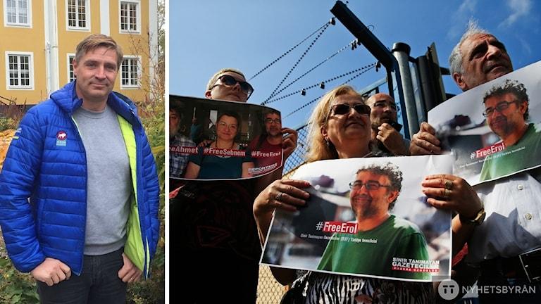Lars Isacsson till vänster, till höger bild på folk som protesterar mot fängslade journalister i Turkiet.