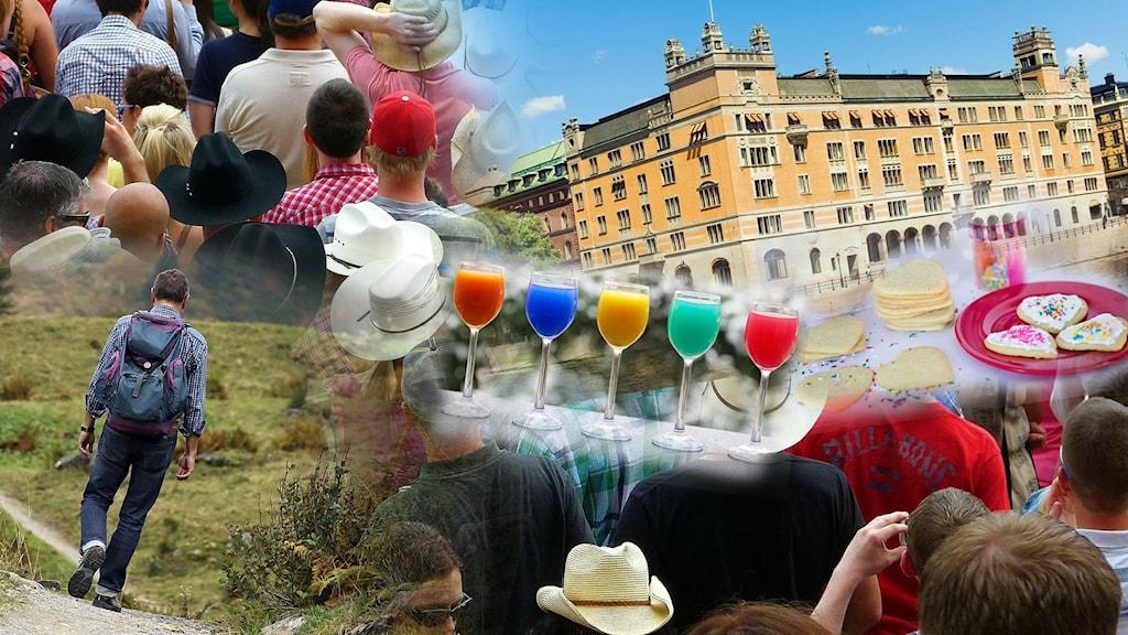 Bildkollage av vandrare, drinkar, kakor, folk med hattar och Rosenbad.