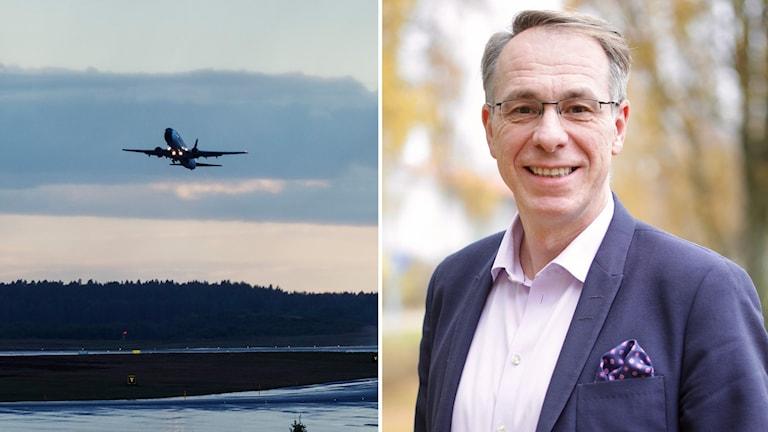 En man med glasögon och en infälld bild på ett flygplan.