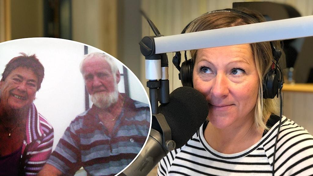 Margareta Meyer Bolin och Torgny Mjörnander som hittade kärleken i Sök & Finn samt P4 Dalarnas programledare Madeleine Drake vid en mikrofon.