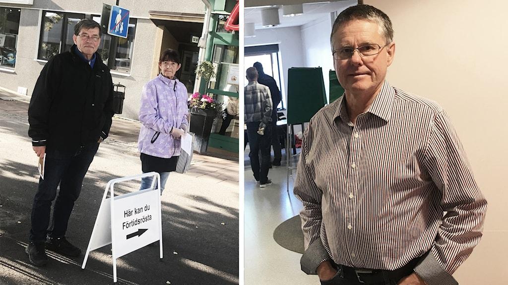 """En kvinna och en man står på en gata, framför dem står en skylt med texten """"förtidsröstning"""". Samt en bild på en man som står framför en vit vägg."""