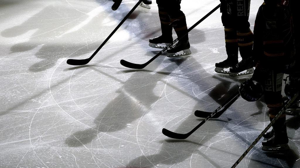 Silhuetter av ishockeyspelares ben och klubbor på is.
