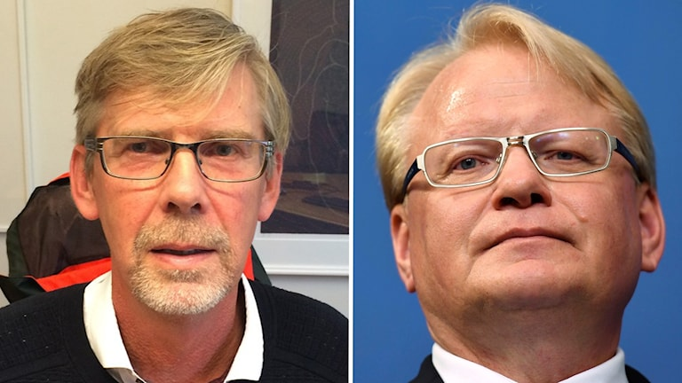 Till vänster en bild på Gunnar Barkes ansikte. Han sitter i en kontorsstol på sitt rum. På bilden till höger en närbild på Peter Hulqvists ansikte fotat underifrån.