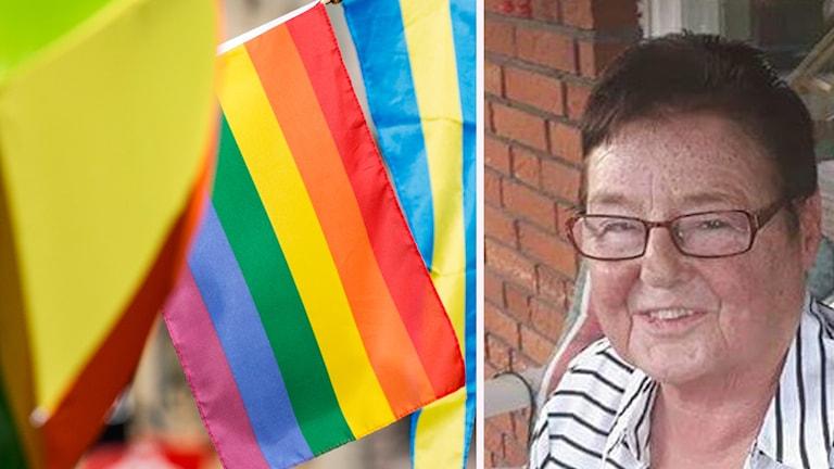 En bild på regnbågsflaggan och en bild på Gunvor Lindqvist