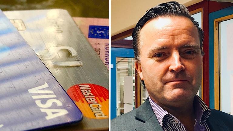 Kontokort, samt en bild på Jan Olsson, står i ett bibliotek han är polis och expert på brottslighet som sker via internet på polisens Nationella bedrägericenter.