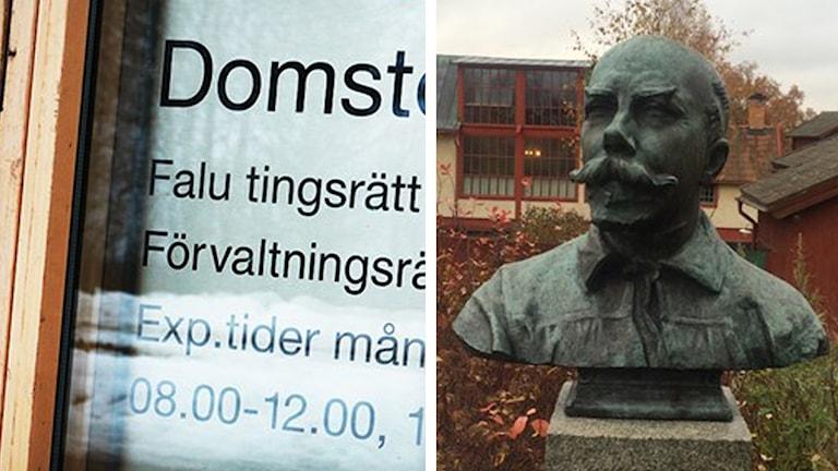 En skylt från Falu tingsrätt och en bild från Carl Larsson gården